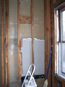 Wall adjacent to bathroom