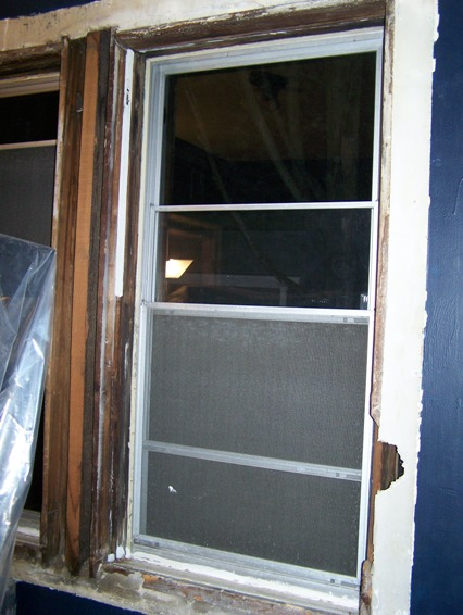 blue room window trim removed